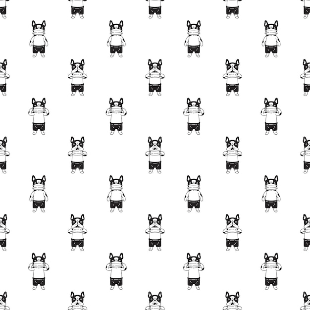 Hond naadloze patroon franse bulldog gezichtsmasker covid 19 cartoon karakter huisdier puppy doodle
