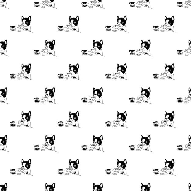 Hond naadloze patroon franse bulldog koffiekopje pot thee cartoon