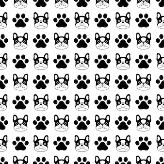 Hond naadloze patroon franse bulldog poot voetafdruk cartoon