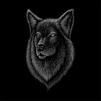 Hond of wolf hand getrokken