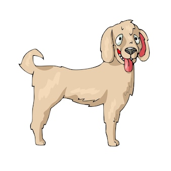 Hond op witte achtergrond schattige cartoon vector