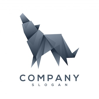 Hond origami stijl logo vector