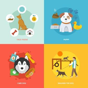 Hond pictogrammen platte set
