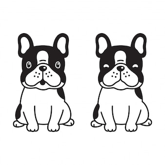 Hond poot vector franse bulldog cartoon