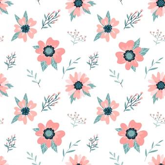 Hond-roze tak met bloemen en bladerenachtergrond. naadloze bloemmotief. rozenbottels bloemblaadjes. wilde roos platte illustratie.