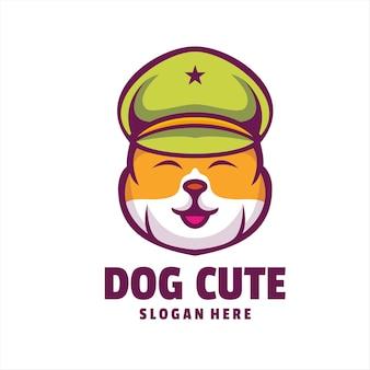 Hond schattig politie logo vector