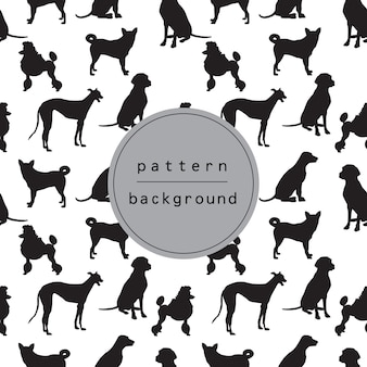 Hond silhouet patroon en achtergrond