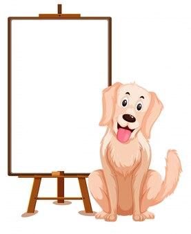 Hond stripfiguur en lege banner op witte achtergrond