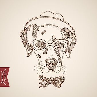 Hond terriër hoofd hipster stijl mens als kleding accessoire bril sjaal hoed stippen stropdas.