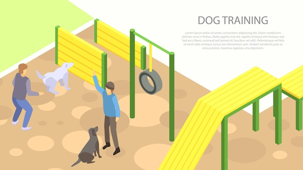 Hond training concept banner, isometrische stijl