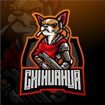 Hond van chihuahua esport logo mascotte ontwerp.