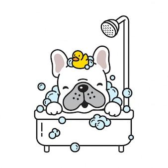 Hond vector franse bulldog bad douche rubberen eend cartoon