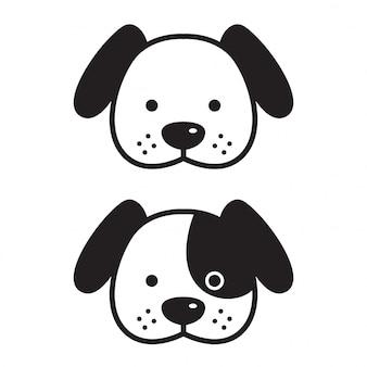 Hond vector franse bulldog gezicht hoofd cartoon