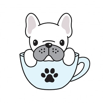 Hond vector franse bulldog koffie beker poot cartoon