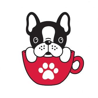 Hond vector franse bulldog koffie beker poot