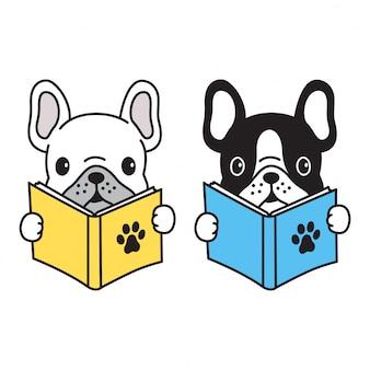 Hond vector franse bulldog lezen boek cartoon