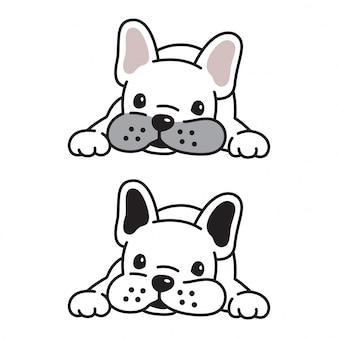 Hond vector franse bulldog puppy stripfiguur