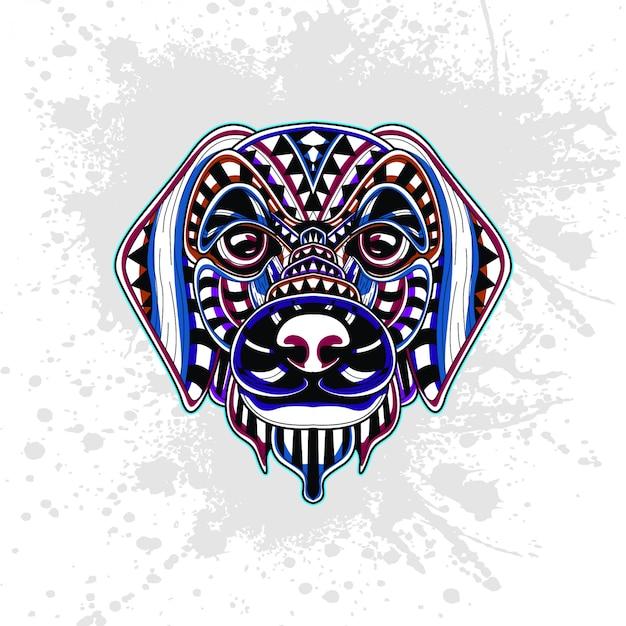 Hond versierd met abstracte vormen
