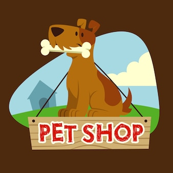 Hond voor dierenwinkel mascotte
