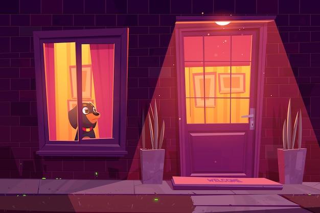 Hond wacht 's nachts bij raam in huis triest rottweiler pup blijf alleen thuis cartoon afbeelding van woningbouw gevel met bakstenen muur raam deur planten en buiten lamp