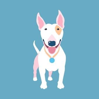 Hond wit bull terrier pictogram plat ontwerp