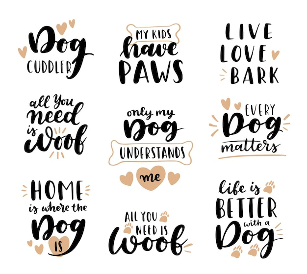 Hond zin inspirerende citaten. handgeschreven zinnen