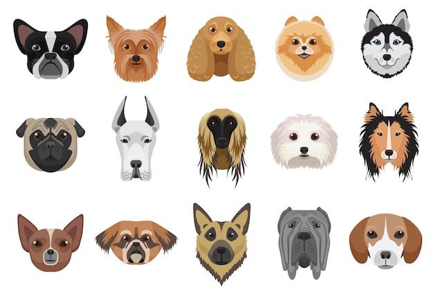 Honden cartoon hoofden gezicht emoticons set