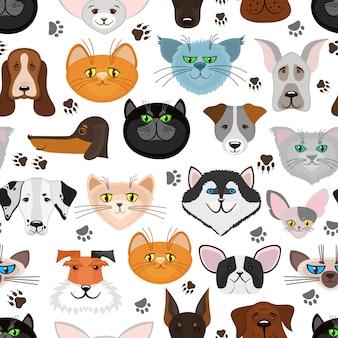 Honden- en kattenvoeders naadloze patroon. achtergrond met schattige huisdieren.