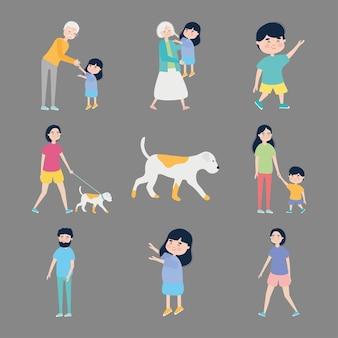 Honden en mensen pictogrammenset