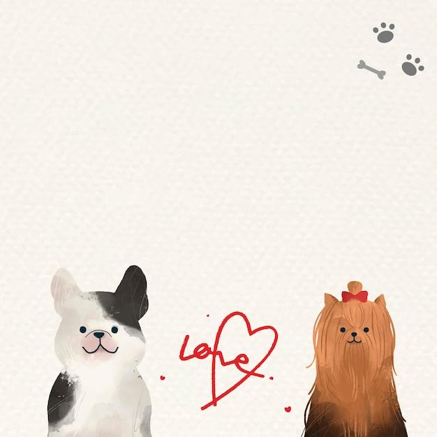 Honden in liefdesachtergrond met schattige illustraties
