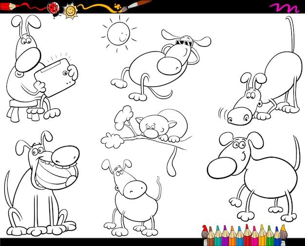 Honden instellen cartoon kleurplaat