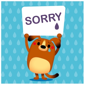 Honden karakter verhogen van een bord met het woord 'sorry'