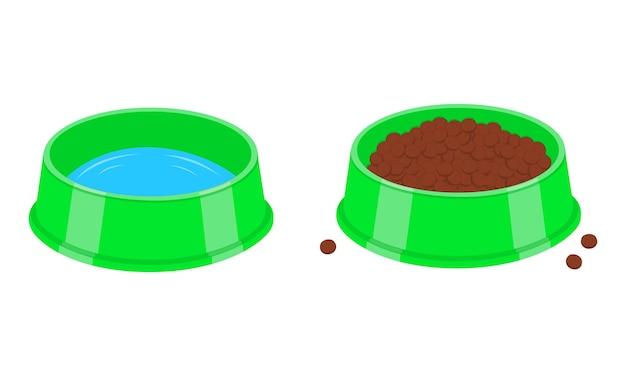 Honden- of kattenbakken gevuld met water en brokjes plastic borden voor huisdieren met drinken en eten