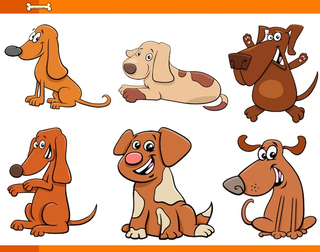 Honden of puppy's cartoon tekens instellen