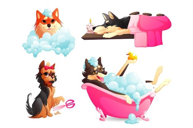 Honden spa en verzorgingsservice gelukkige hondjes nemen een bad in een schuimig bad met shampoobubbels die ontspannen ...