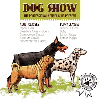 Honden tonen illustratie