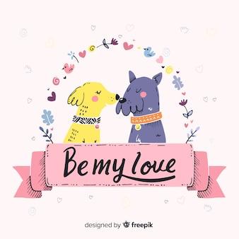 Honden valentijn achtergrond