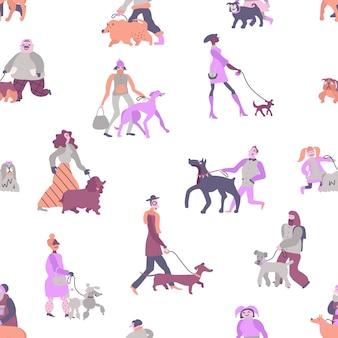 Hondenbezitters met huisdieren, waaronder poedel, terriër, windhond en teckel naadloos patroon