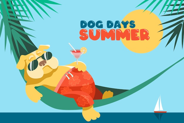 Hondendagen van de zomer. een schattige dikke engelse bulldog ligt in een hangmat met een glas margarita.