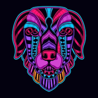 Hondengezicht in retro gloeiende kleur