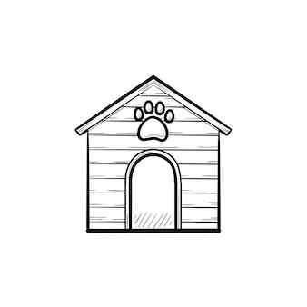 Hondenhok hand getrokken schets doodle icon
