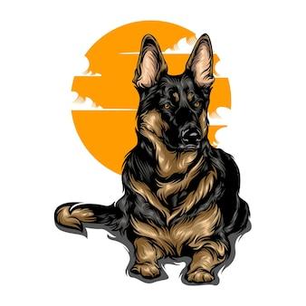 Hondenillustratie met effen kleur