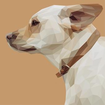 Hondenkop met lowpoly-stijl