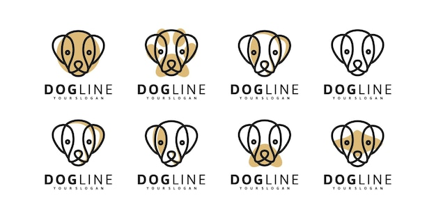 Hondenkoplogo met lijnkunststijl