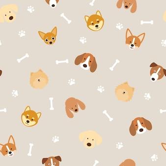 Hondenrassen hoofd naadloze patroon achtergrond, voetafdruk en bot