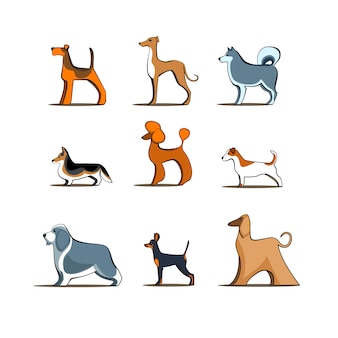 Hondenrassen op geïsoleerde achtergrond, honden vector huisdier tekens verschillende hondje illustratie