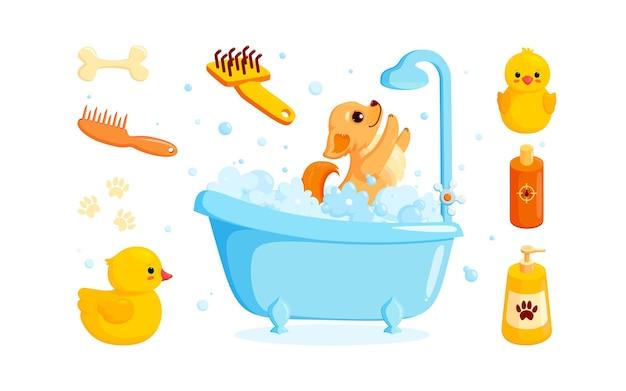 Hondenverzorging in bad met kammen voor huisdierenshampoo en badeendjes speelse chihuahuapuppy in schuim
