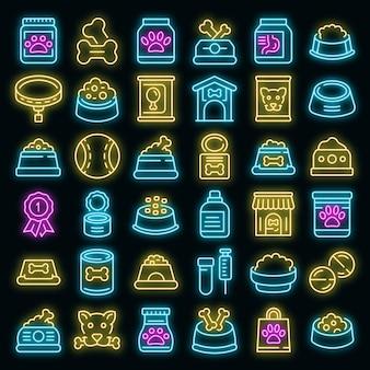 Hondenvoer pictogrammen instellen. overzicht set van hondenvoer vector iconen neon kleur op zwart