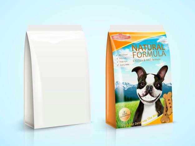 Hondenvoerpakketontwerp met boston terrier in 3d illustratie