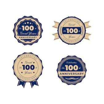 Honderd jaar jubileumbadges Premium Vector